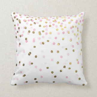 Pink and Faux Gold Confetti Cushion