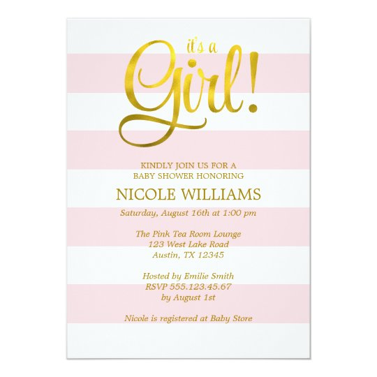 Pink and Faux Gold Stripes Girl Baby Shower