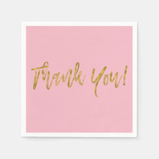 Pink and Faux Gold Thank You Gold Foil Napkins Paper Napkin