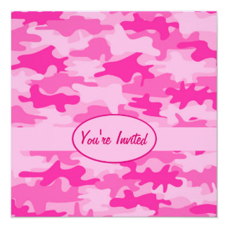 Pink and Fuchsia Camo Camouflage Party Event 13 Cm X 13 Cm Square Invitation Card
