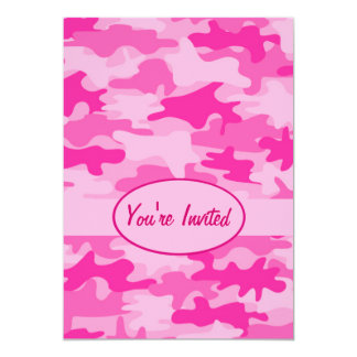 "Pink and Fuchsia Camo Camouflage Party Event 5"" X 7"" Invitation Card"