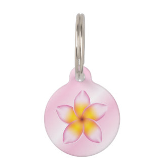 Pink And Girly Frangipani Flower With Dog's Info Pet ID Tags