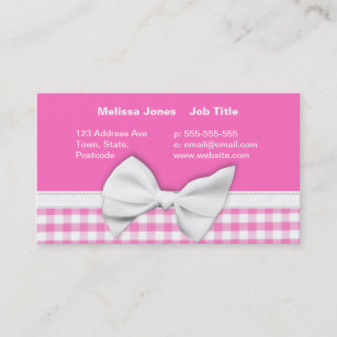 Pink white bow business cards zazzle uk pink and girly gingham with ribbon bow business card colourmoves