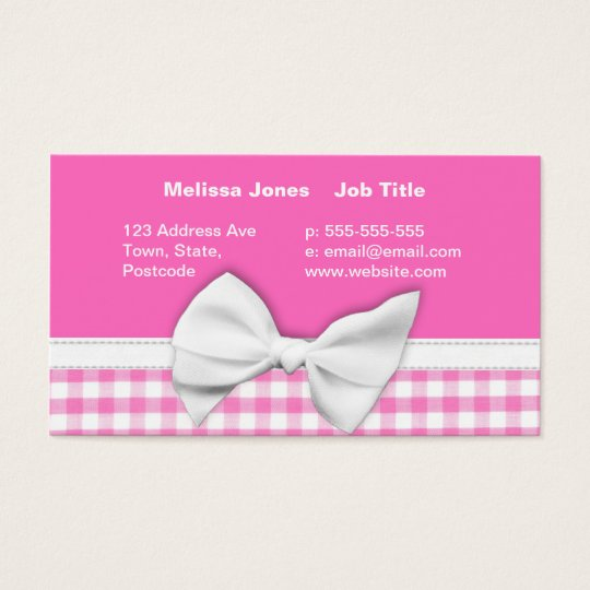 Pink and girly gingham with ribbon bow business card