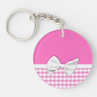Pink and girly gingham with ribbon bow key ring