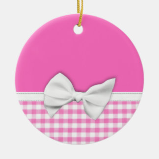 Pink and girly gingham with ribbon bow round ceramic decoration