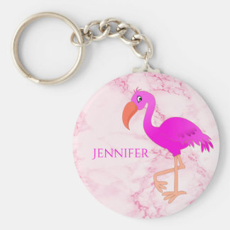 Pink and girly tropical flamingo on pink marble key ring
