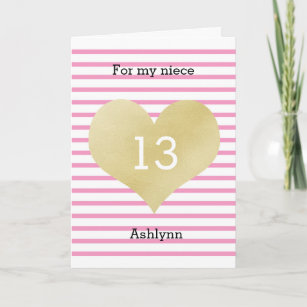 Pink And Gold 13th Birthday Niece Card
