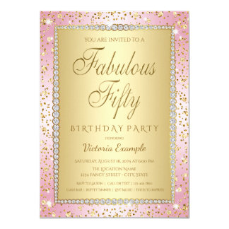 Pink and Gold 50th Birthday Party Invitations