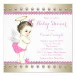 Pink and Gold Angel Baby Shower 13 Cm X 13 Cm Square Invitation Card