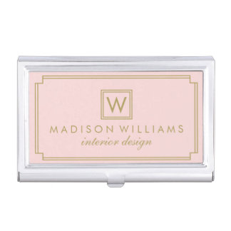 Pink and Gold Art Deco Monogram Business Card Holder