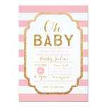 Pink And Gold Baby Shower Invitation, Baby Girl 13 Cm X 18 Cm Invitation Card