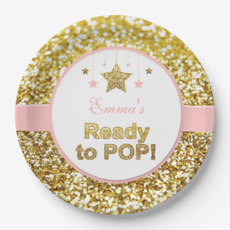 Pink and gold baby shower plates