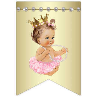 Pink and Gold Ballerina Pearls Baby Shower Bunting