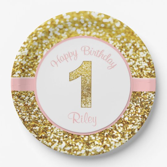 Pink and gold birthday plates for first birthdays