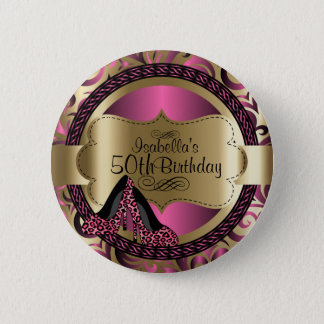 Pink and Gold Birthday with Leopard High Heels 6 Cm Round Badge