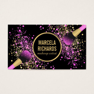 Pink and Gold Blush Confetti Makeup Artist
