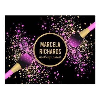 Pink and Gold Blush Confetti Makeup Artist Postcard