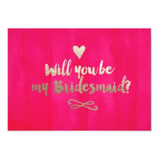 Pink and Gold Bridesmaid Card 13 Cm X 18 Cm Invitation Card