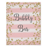 Pink and Gold Bubbly Bar Wedding Poster Print