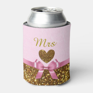 """Pink and Gold Can Cooler Oozie """"Mrs"""""""