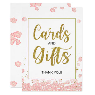 Pink and Gold Cards and Gifts Bridal Shower Sign