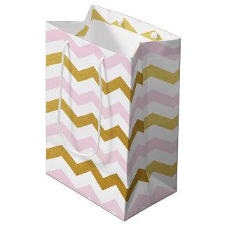 Pink and Gold Chevron Pattern Gift Bag Medium Gift Bag