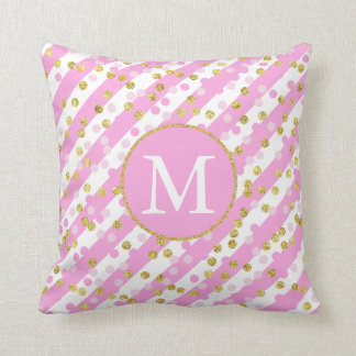 Pink and Gold Confetti Stripes Monogram Throw Pillow