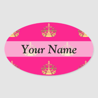 Pink and gold crown pattern oval sticker