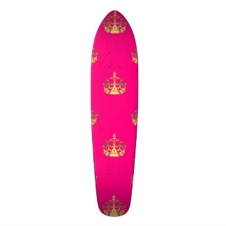 Pink and gold crown pattern skate boards