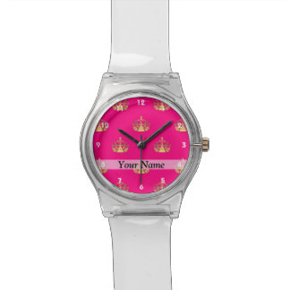 Pink and gold crown pattern watch
