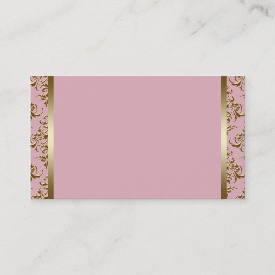 Pink and Gold Damask Business Card Template