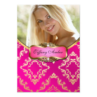 Pink and Gold Damask Photo Invite