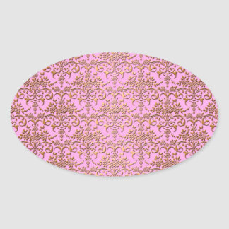 Pink and Gold Fancy Damask Pattern Oval Sticker