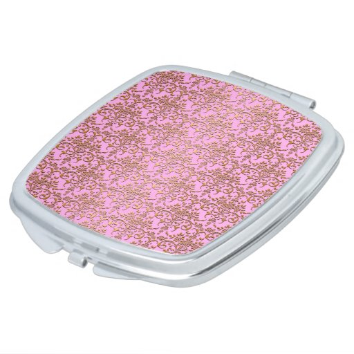 Pink and Gold Fancy Damask Pattern Compact Mirrors
