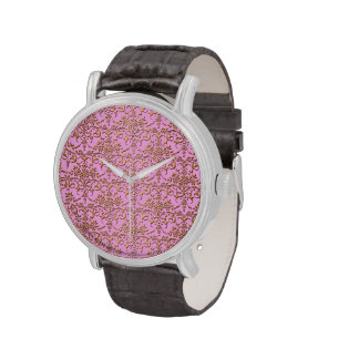 Pink and Gold Fancy Damask Pattern Wrist Watches