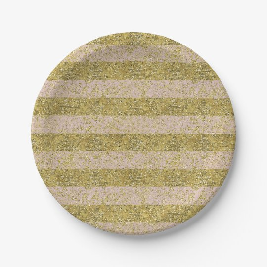 Pink and Gold Faux Glitter Stripes glitzy chic