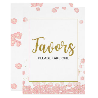 Pink and Gold Favors Bridal Shower Sign Card