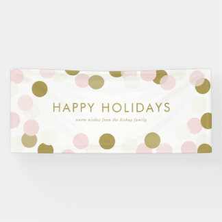 PInk and Gold Festive Confetti Dots Happy Holidays Banner