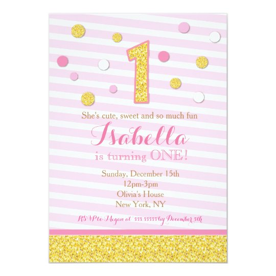 Pink and Gold First 1st Birthday Party Invitations