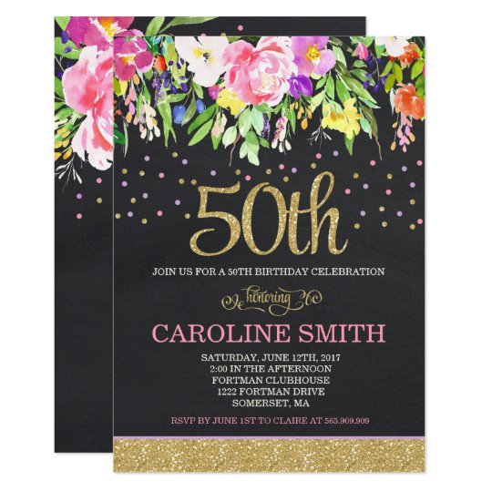Pink and Gold Floral 50th Birthday Invitation