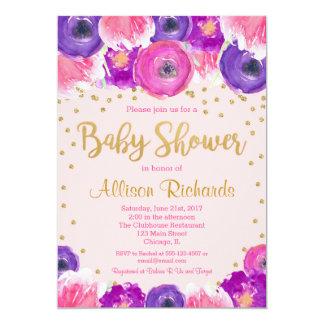 Pink and gold floral baby shower invitation