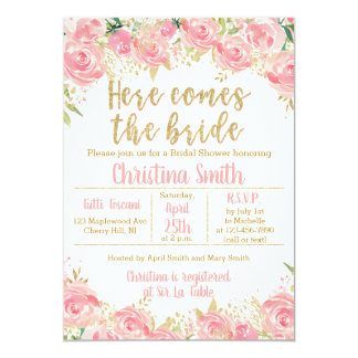 Pink and Gold Floral Bridal Shower Invitations