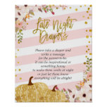 Pink and Gold Floral Pumpkin Late Night Diapers Poster