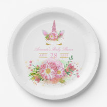 Pink and Gold Floral Unicorn Girl Baby Shower Paper Plate