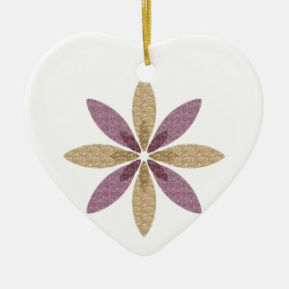 Pink and Gold Flower Art Ceramic Heart Decoration