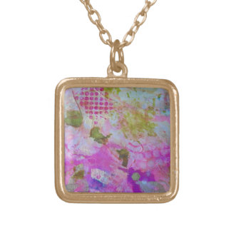 Pink and gold foil abstract art necklace