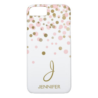 Pink  and Gold Foil Confetti Monogram iPhone 8/7 Case