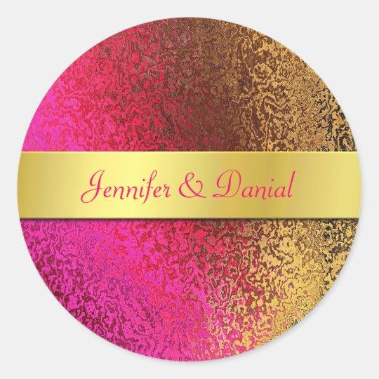 Pink and Gold Foil Like Wedding Envelope Seal