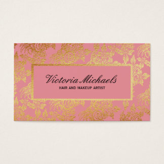 Pink and Gold Foil Look Floral Business Cards